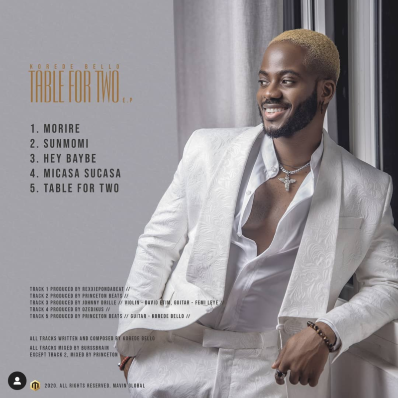 """Download: Korede Bello – """"Table For Two"""" (EP) -www.djitunez.com"""